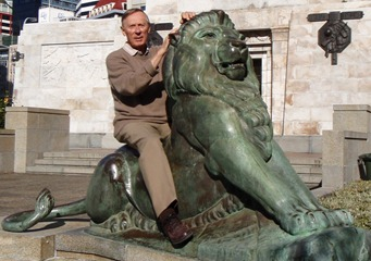 David on a statue
